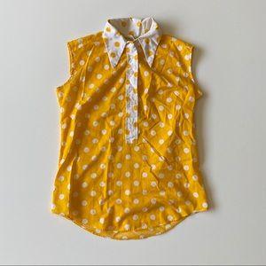 Vintage 70s Yellow Polka Dot Collar Tank Top M L